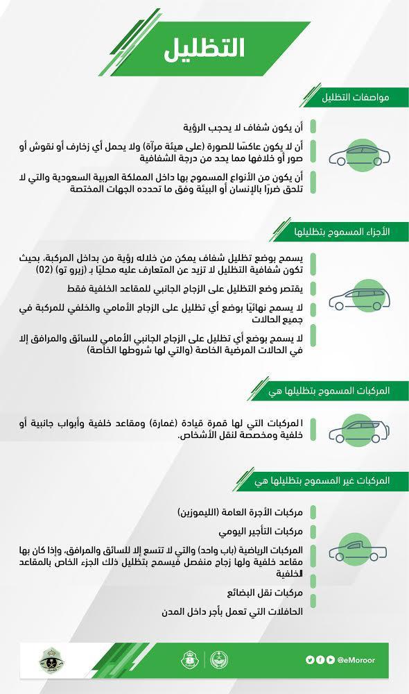 التظليل المسموح به في السعودية