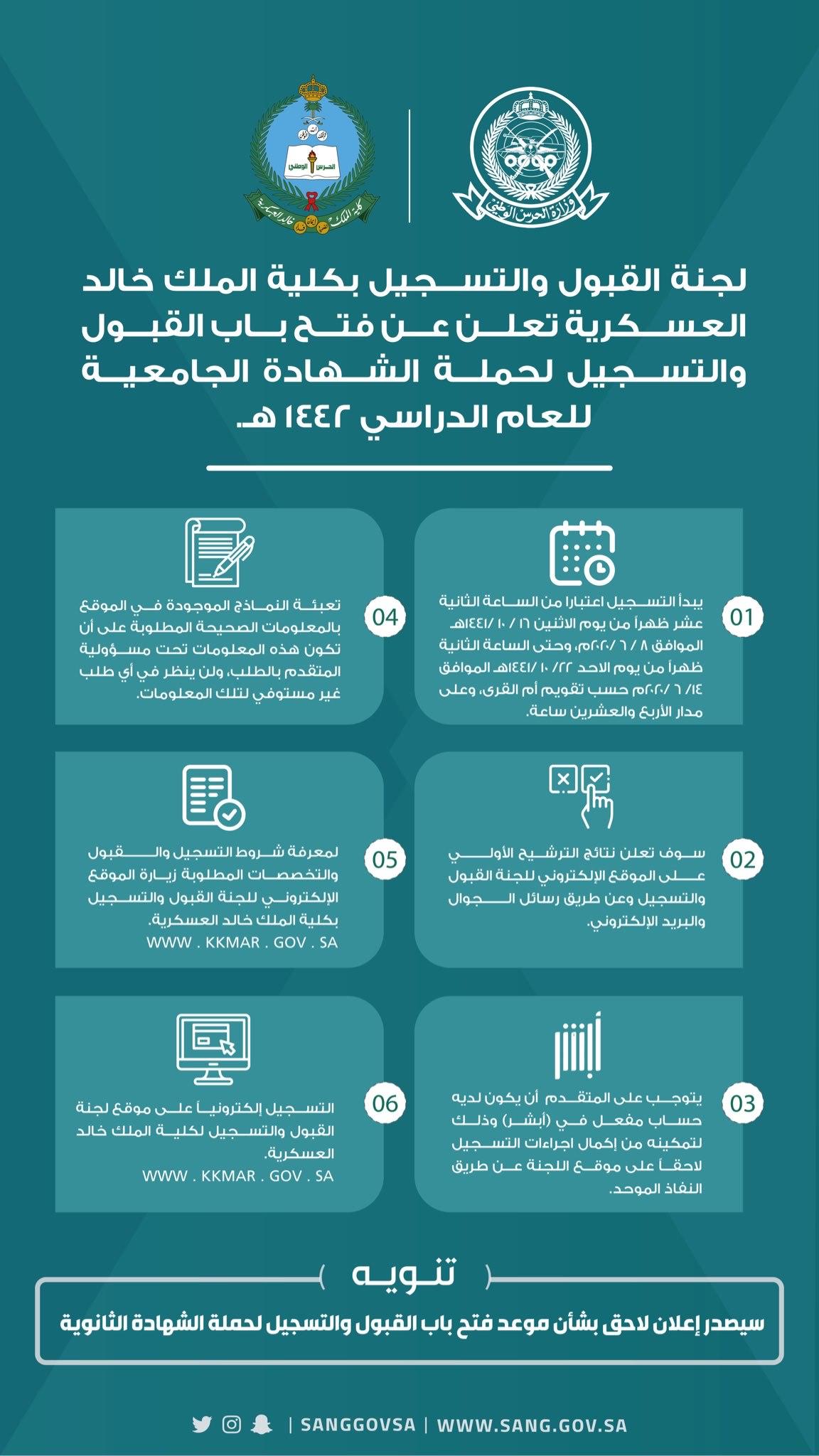 تخصصات كلية الملك خالد العسكرية