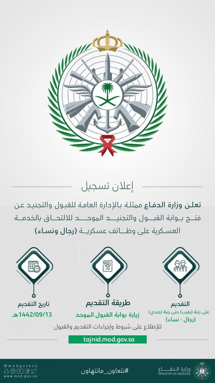 تخصصات وزارة الدفاع المطلوبة 1442