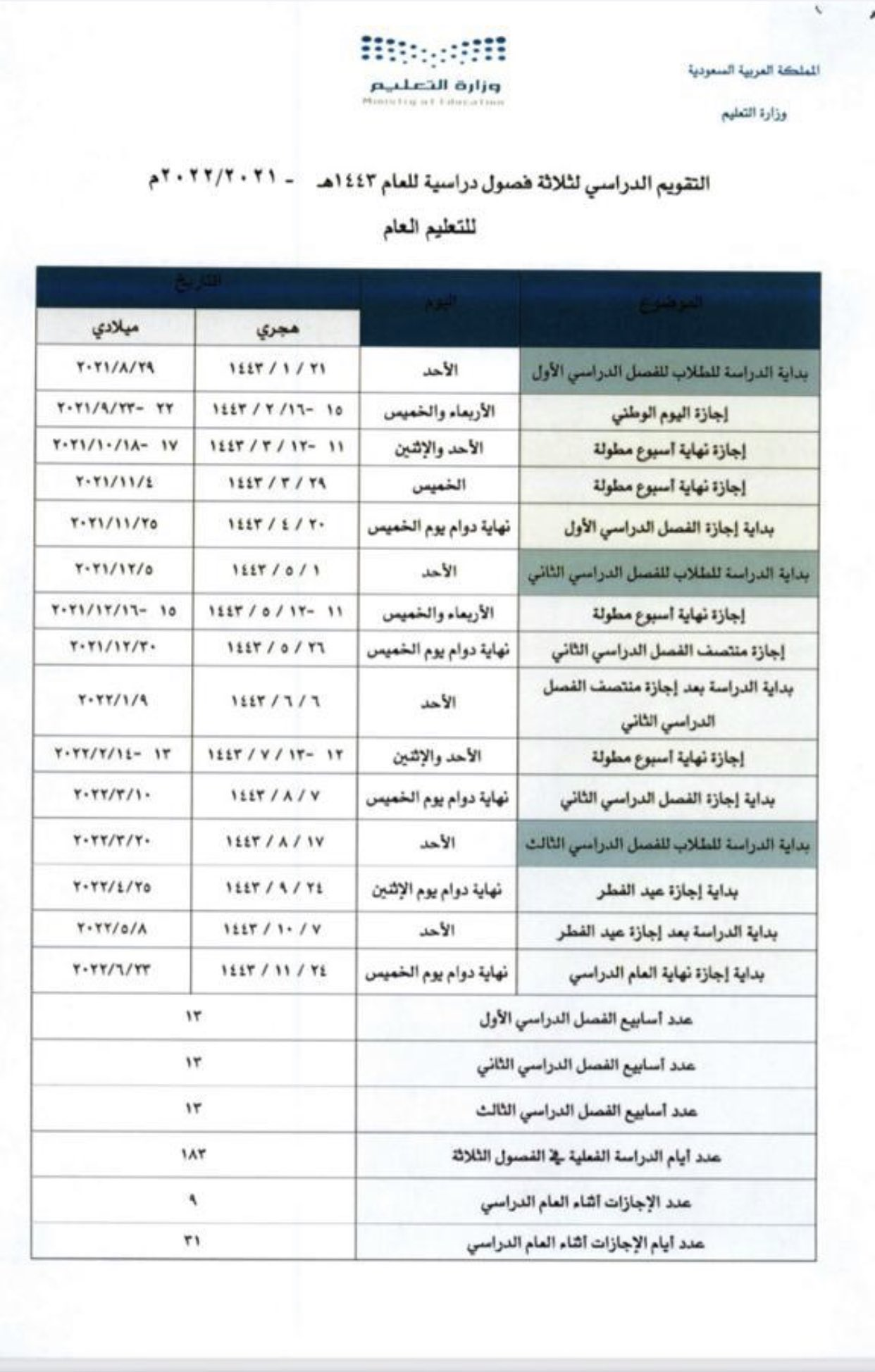 تقويم العام الدراسي 1443