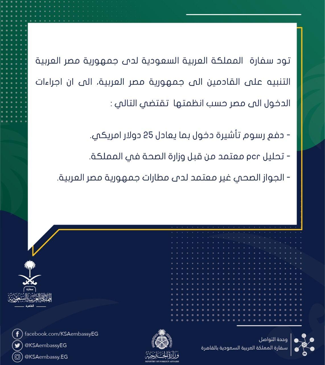 شروط سفر السعوديين إلى مصر