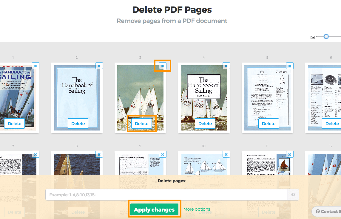 حذف صفحات من pdf